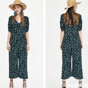 Zara Floral Button Front Flowy Jumpsuit